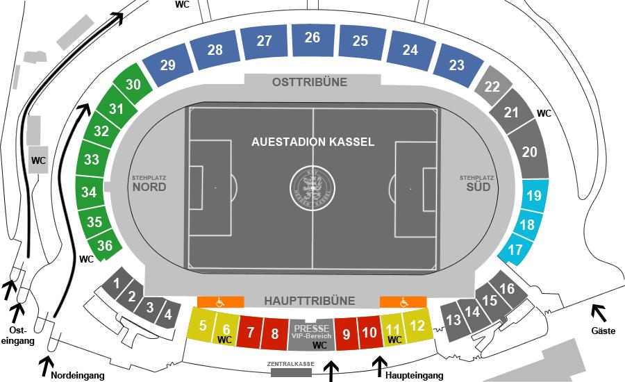 Stadionplan KSV Hessen Kassel